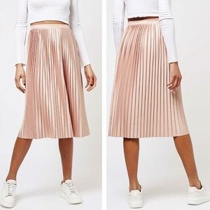 TOPSHOP | BLUSH PINK MIDI PLEATED SKIRT SIZE 8